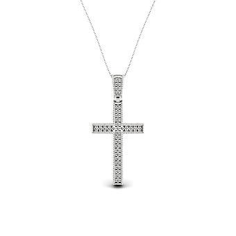 Igi certificado s925 plata de ley 0.075ct tdw collar de cruz de diamantes