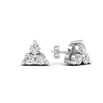 Igi certifié 0.25 ct diamant trois boucles d'oreilles clou de pierre en or blanc 10k