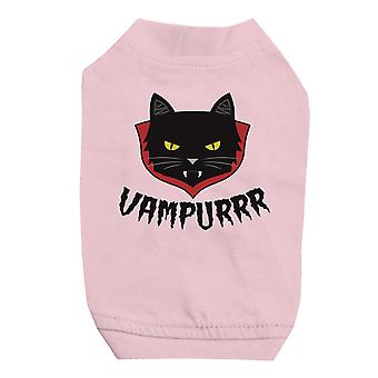 Vampurrr Funny Halloween Graphic Design Pink Pet Shirt for Small Dogs
