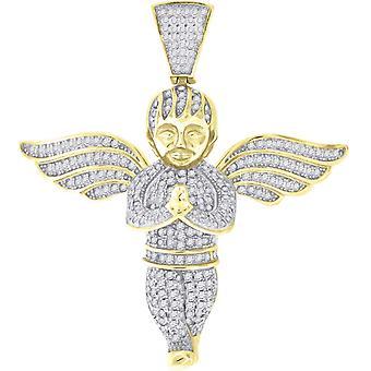 925 Sterling Zilver Gele toon CZ Cubic Zirconia Gesimuleerde Diamond Angel Religieuze Hanger Hanger Hanger Charme Sieraden Geschenken