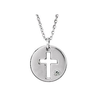 925 Sterling Silver Diamond Polished Pierced Religious Faith Cross Disc Necklace Jewelry Gifts for Women