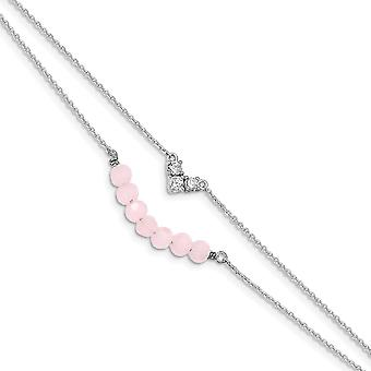 925 Sterling Silver CZ Cubic Zirconia Simulated Diamond and Pink Glass Beads With 1inch Ext. Bracelet 6 Inch