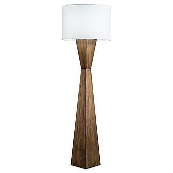 Casa moderna Espresso geometrica legno Floor Lamp w/naturale ombra di iuta