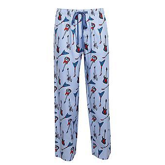 Cyberjammies 6456 Männer's Billy blue Guitar Print Baumwolle gewebt Pyjama Hose