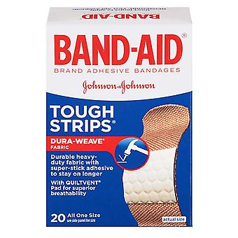 Band-aid tough strips adhesive bandages, one size, 20 ea