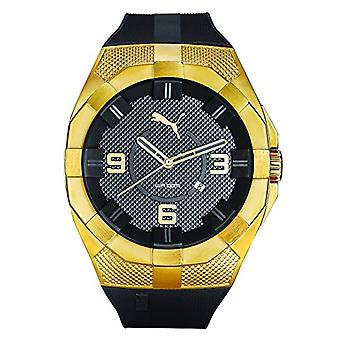 Cougar Time Iconic wrist watch, analog, plastic band, black/gold