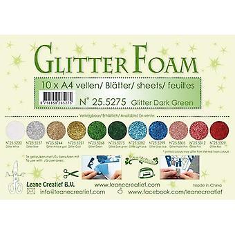Feuilles de mousse glitter Leane Creatief A4 Glitter Vert foncé