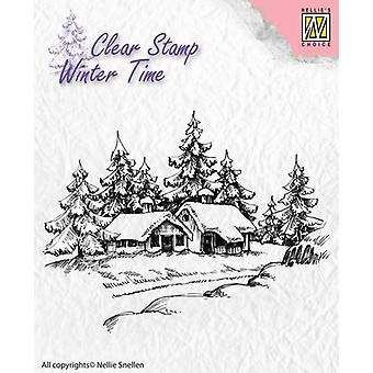Nellie's Choice Clearstamp - Winter Time Wintery house WT002