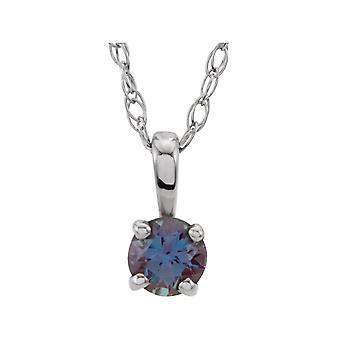 925 sterling sølv simulert alexandritt 3mm polert ungdom halskjede smykker gaver til kvinner