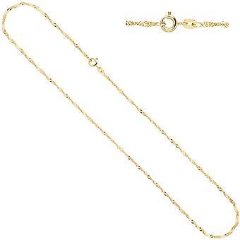 Women's Singapore necklace 585 yellow gold 1.8 mm 42 cm gold chain necklace gold chain feather ring