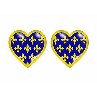 2x Stick klistermärke flagga hjärta ardeche avdelning