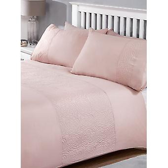 Layla Duvet Cover and Pillowcase Bed Set - King, Blush