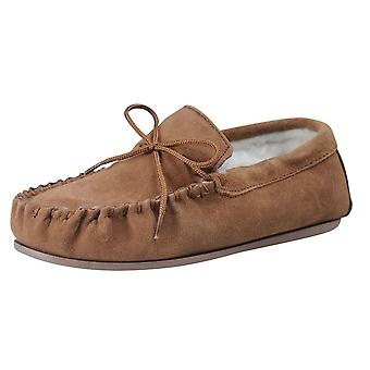 Nordvek Mens Genuine Suede Wool Lined Moccasin Slippers Hard Sole 422-100