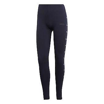 adidas Essentials Linear Graphic Womens Fitness Gym Legging Navy Blue