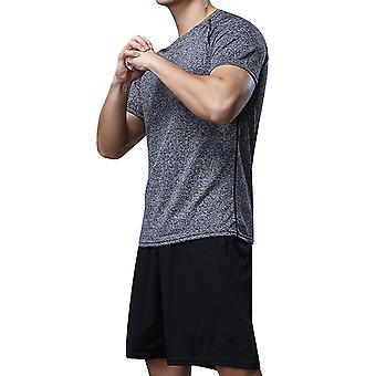 Allthemen Men's Round Collar Elastic Quick-Dry Short-Sleeved Sports Suit