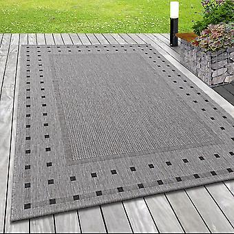 Alfombra de tela plana moderna interior exterior patrón sisal look en gris