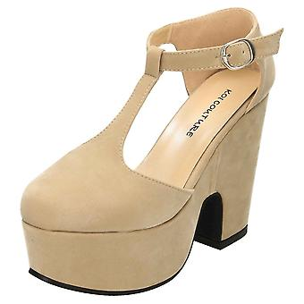 Koi Footwear Chunky Platform High Heel T-Bar Sandals Shoes Beige Suede