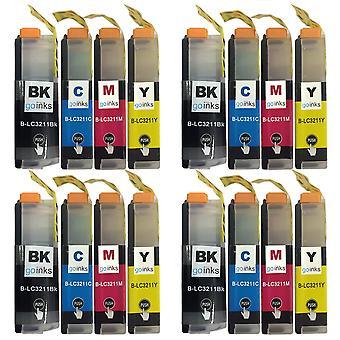 4 Tintenpatronen sets ersetzen Brother LC3211 Compatible/non-OEM by Go Inks (16 Tinten)