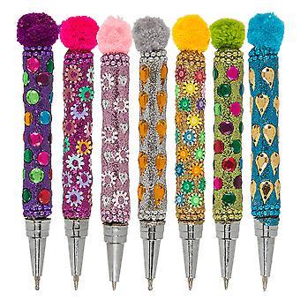 Mini Pen with Sequins, Glitter & Pom Pom Topper - Cracker Filler Gift