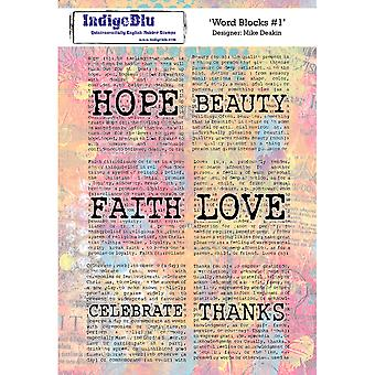 IndigoBlu Word Blocks #1 A5 Rubber Stamp