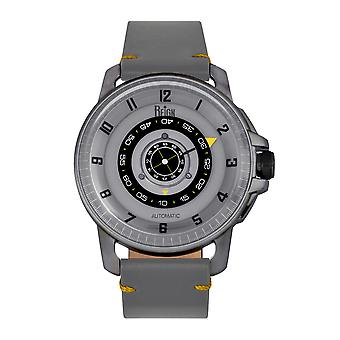 Reign Monarch Automatic Domed Leather-Band Watch - Gunmetal/Grey