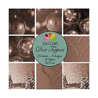 Dixi Craft Toppers bolas de Navidad Sepia