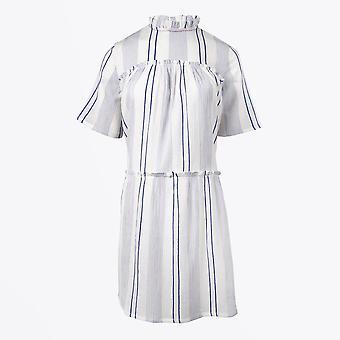 Dream  - Embroidered Stripe Dress - White/Blue