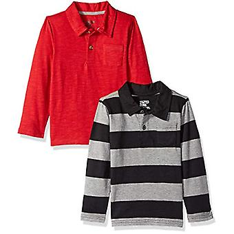 Brand - Spotted Zebra Little Boys' 2-Pack Long-Sleeve Polo Shirts, Gre...