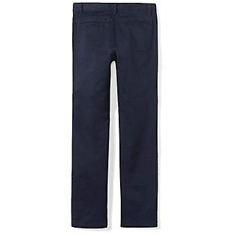 Essentials Big Girls' Flat Front Uniform Chino Pant, Navy,12