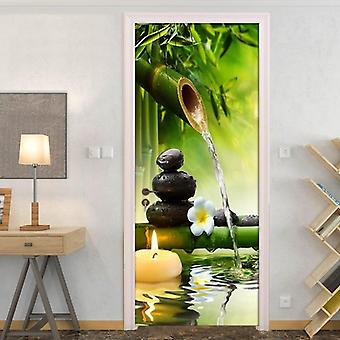 Creative Diy 3d Green Bamboo Scenery Door Sticker Mural - Pvc Self Adhesive Living Room Door Mural
