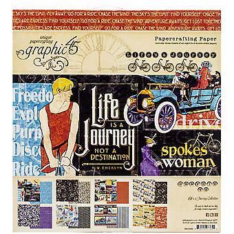 Graphic 45 Life's a Journey 8x8 Inch Paper Pad