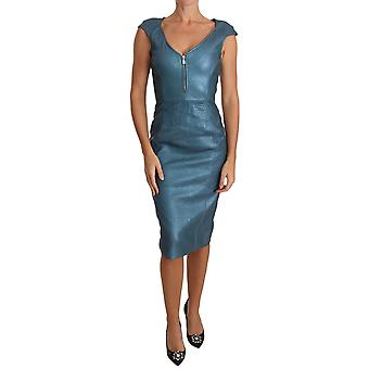 Versace Blue Bodycon Midi Leather Dress -- DR20309488