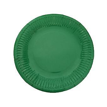 10PCS 7 Inch Solid Color Circle Tray Green