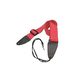 GSA10RD, Bracelet guitare avec extrémités en cuir (Rouge)