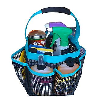 Portable Shower Caddy with 8 Mesh Storage Pockets Blue