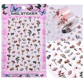 Blooming Flower 3d Art Stickers - Decals Adhesive Manicure Nail Tips Decoration