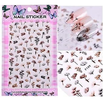 Blommande Blomma 3d Nail Art Klistermärken - Dekaler Självhäftande Manikyr Nageltips
