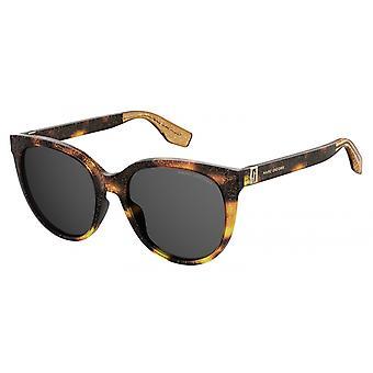 Sunglasses Women's Round Glitter Brown/Grey