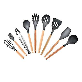 9-Piece Silicone Kitchen Cookware Set Solid Wood Handle Black B