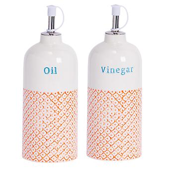 Nicola Spring 2pc Hand-Printed Oil and Vinegar Pourer Bottle Set - Porcelain with Stainless Steel Spout - Orange - 500ml