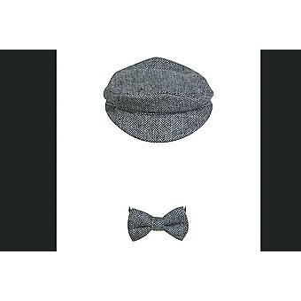 Newborn Photo Props Beret Hat + Bow Tie Set, Newborn Photography Props
