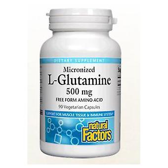 Luonnolliset tekijät Mikronoitu L-glutamiini, 500 mg, 180 veg-korkkia