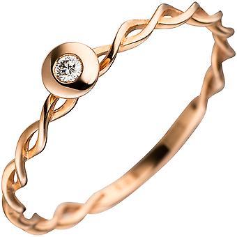 Kvinnors ring vände 585 guld röd guld 1 Diamond brilliant röd guldring Diamantring
