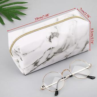 Large Cute Pencil Case Pen Box Zipper Marble Makeup Storage Bags