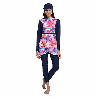 Muslim Women Modest Patchwork Hijab Long Sleeves Sports Swimsuit, Islamic