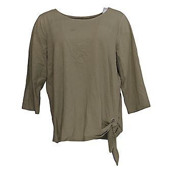 Belle By Kim Gravel Women's Top Knit 3/4 Sleeve Round Neck Green A347135
