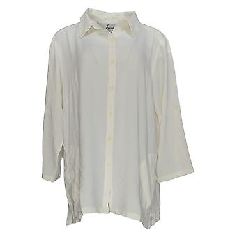 Linea por Louis Dell'Olio Women's Top Button Front w/Pockets Ivory A351412