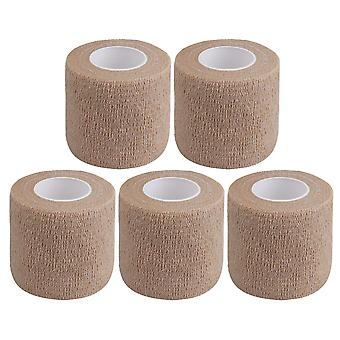 5Pieces Breathable Cohesive Bandage Self-Adherent Tape Width 5cm