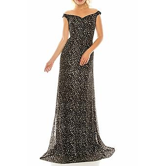 Glittery Mesh Illusion Portrait Neckline Evening Dress