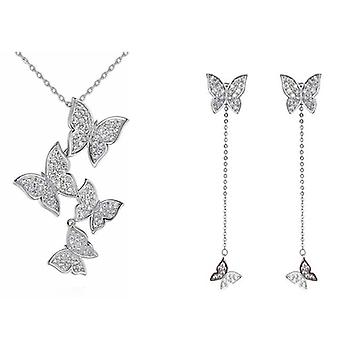 925 Sterling Silver Vintage Butterfly Jewelry Sets Long Tassel Earrings Navicle